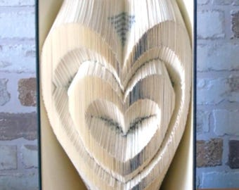 Folded book-Two hearts//books//Bookfolding//decoration//gift//wedding//Valentine's Day//Love
