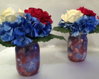 Patriotic Flowers, True Touch Patriotic Flowers, Real Touch Patriotic Flowers, Red Whie and Blue Flowers, Patriotic Centerpiece, True Touch