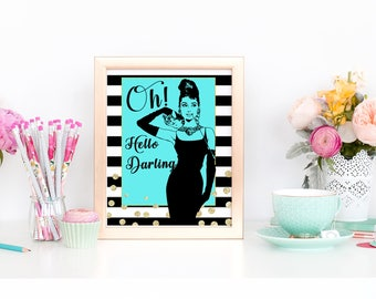 Breakfast at Tiffanys Party Decorations/ Birthday/ Bridal Shower/ Baby Shower/ Printable/ Audrey Hepburn/ Gift for Her/ Printable