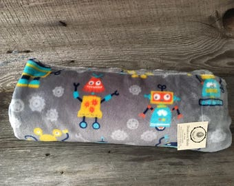 child turquoise gray robot minky baby blanket