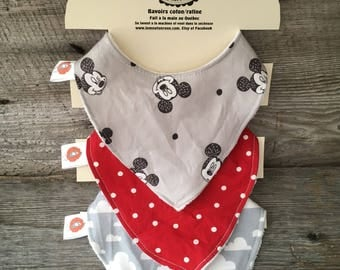 All 3 bibs bavana bib for baby 0-12 months in Terry cotton Mickey Mouse red cloud gray