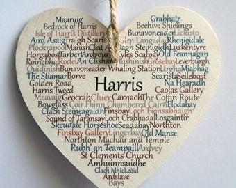 Harris Wooden Heart, Place Names Harris, Harris Outer Hebrides, Harris Western Isles, Scotland