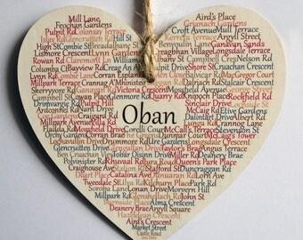 Oban Heart Decoration, Oban, Oban Scotland, Oban Argyll, Argyll and Bute, Scotland, West Coast Scotland, Claire Kirkpatrick Word Art