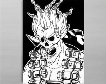 "Junkrat - Overwatch Skeleton - Original ACEO/ATC Illustration 2.5x3.5"""
