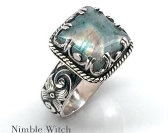 Boho Labradorite ring. Blue flash gemstone set in a vintage style boho ring. A handmade artisan ring in sterling silver. Gift for Mom.