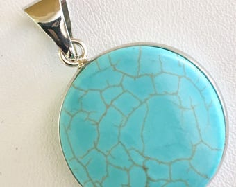 """USA FREE SHIPPING!! Native American """"Turquoise Blue"""" Magnesite Pendent"""