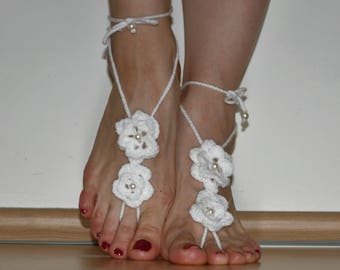 Crochet Barefoot Sandals, Pure White Shoes, Foot Jewelry, Lacy Barefoot Sandals, Foot Accessory