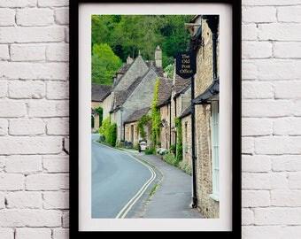 Wanderlust Entryway, The Cotswolds, Castle Combe Landmark Prints, Kitchen Decor, Housewarming Gift, Art Print, England Photo, Farmhouse