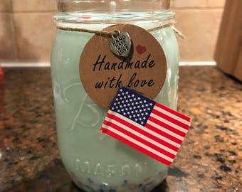 Red, White, blue , Sprinkled Candles Ocean Breeze Scent