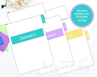 Printable Monthly Divider Pages with tabs. A5 Size, Instant download. PDF format. Month divider tabs for A5 size planner. DIY digital file.