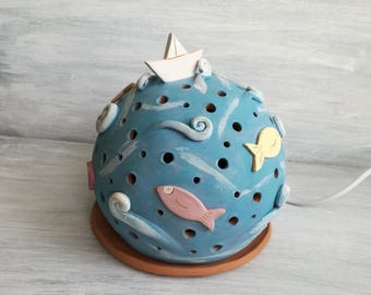 Ceramic table lamp-fish lamp-house decoration-gift for home-handmade ceramics-home decor-lantern