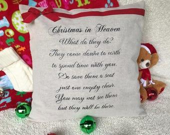 Christmas in Heaven Pillowcase | Memorial Pillowcase | In Memoriam Holiday