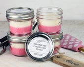 Soy Candle - Strawberry | Mason Jar Candles | Best Seller | Container Candles | Homemade Candles | Scented Soy Candle | 4 oz Soy Candle