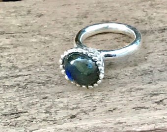 Blue Labradorite ring, statement ring, Gemstone ring, gift for her, woman ring, jewelry, jewellery