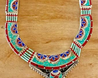 Turquoise Statement necklace, lapis lazuli necklace, Tibetan necklace , turquoise jewellery, bohemian necklace, gypsy necklace,lapis jewelry