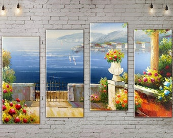 Seascape painting, Large Wall Art, 4 Panel Canvas, Landscape Painting, Blooming garden, Large Wall decor , Canvas Art, Living Room Wall Art
