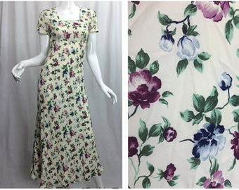 90's Long Floral Dress, Short Sleeves, Zipper on Back with Shoulder Pads by All That Jazz
