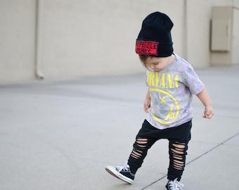 Black Harem Pants | Shredded Toddler Pants | Punk Rock Baby | Little Boy Leggings | Punky Kids Clothes | Black Harem Baby Girl - Baby Boy