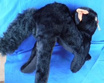 Vintage Stuffed Black Cat Stuffed Animal kids Toy 1970's Collectible Home Decor Cute halloween decor