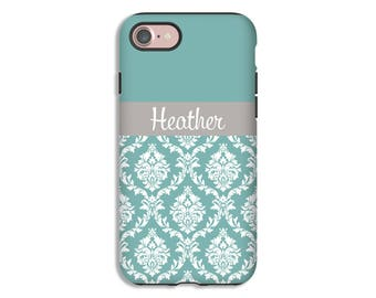 Personalized iPhone 8 case, damask iPhone 8 Plus case, custom iPhone X case, iPhone 7 Plus case, iPhone 7 case, 3D wrap around iPhone case
