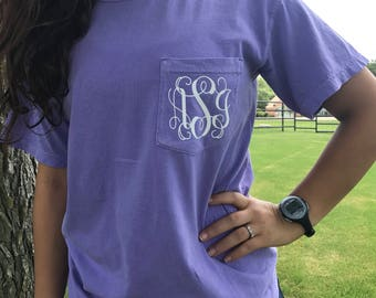 Glitter Monogram Pocket T-Shirt / Pocket Tshirt / Monogram Tshirt / Monogram Pocket Tee / Glitter Pocket Tee / Monogram Shirt