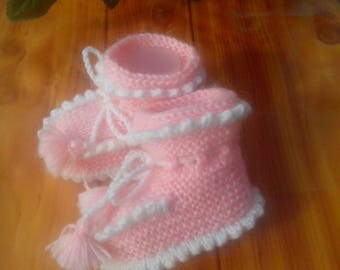 Baby knitting booties - Knitted baby shoes - Baby pink booties - Knitted baby boots-Baby booties - Baby knitted boots