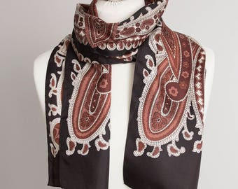 "vintage long scarf, rectangle scarf, polyester scarf, women scarf shawl 26x145cm / 10x57""  paisley scarf beige brown STAIN"