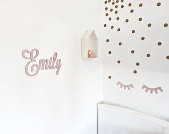 Scripted wall name art, wall decor, nursery decor, modern nursery, children's name plaque, kids decor, wooden name wall sign, Rose gold