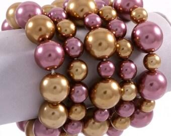 Purple 5 Pcs Stretch Bracelet