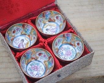 Vintage Asian Chinese handcrafted handpainted 4 tea cups Saki Cups Boxed GD Arts Crafts Chinese tea cups Saki cups