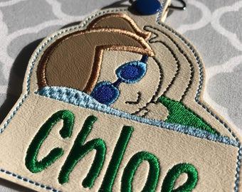 Embroidered Swimmer Bag Tag/Embroidered Swimmer Keychain /Girl Swimmer keyfob/Swimmer snaptab