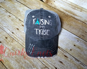 Raising my tribe-mom hat-mama bear-embroidered hat-custom hat-mom life- my tribe hat-teepee hat