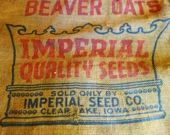 Vintage Burlap Imperial Quality Seed Sack 96 lb.  Farming Agriculture Clear Lake Iowa reduced price