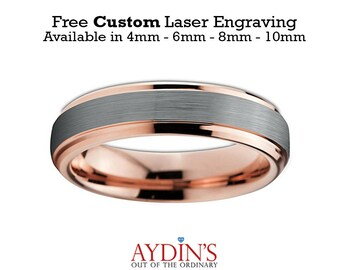 Mens and Womens Tungsten Wedding Band - 4mm Ring - 18K Rose Gold Tungsten - Beveled Edge - Brushed and Polished - Mens Wedding Band Tungsten
