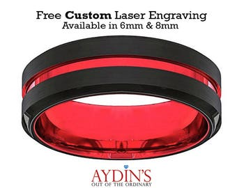 Mens Wedding Band   Tungsten Ring   Black And Red Tungsten   Scarlet Red   Beveled Edge   Tungsten Wedding Band  6mm  8mm