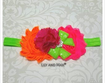 Neon colors flower headband, hot pink, lime and orange tones shabby flower elastic headband