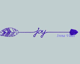 2 Designs Joy With Arrow Embroidery Design Arrow Embellishment Arrow Fill Stitch Embroidery/3 sizes/Instant Download 4x4 5x7hoop, arrows