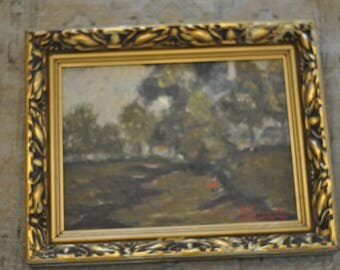 Early 20th Century Signed Dutch Landscape Painting on Board with Wood Gesso Frame