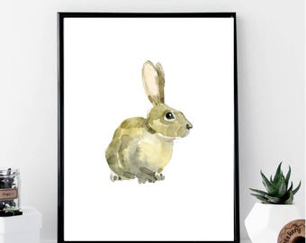 Watercolor Rabbit Print // Minimalist // Wall Art // Typography // Fashion // Scandinavian // Boho // Modern Office