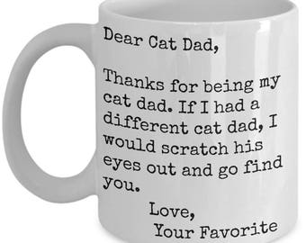 Cat Owners Unique Cat Mug for Men-Kitty Lover Mug-Cat Owner Gift-Funny Kitten Play-Scratcher-Rescue Dear Cat Dad
