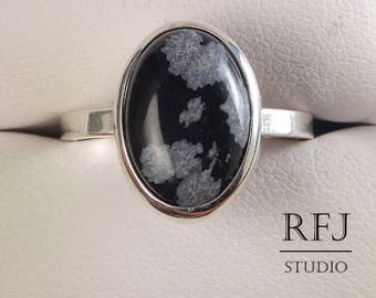 Natural Snow Flake Obsidian Oval Silver Ring, Sterling Snow Flake Obsidian Jewelry, Cabochon Ring, 14x10mm Cabochon Ring Snow Flake Obsidian