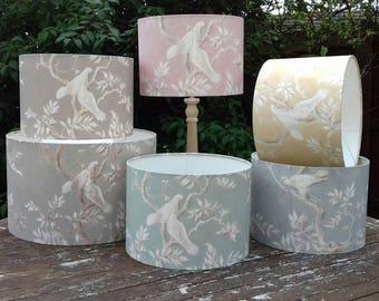 DOVES - Pendant/Table Drum Lampshade using this peaceful bird Lewis & Wood design