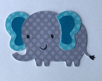 Elephant cutout, Gray and aqua Elephant die cuts, elephant centerpiece, elephant party decor, elephant baby Shower, elephant cake topper