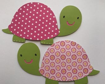 Turtle baby cuts out, Turtle die cuts, Turtle baby shower decorations, turtle centerpiece, set of 2.