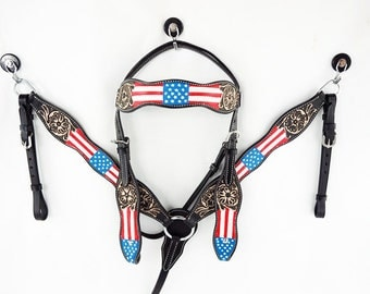 Red White & Blue USA American Flag Tooled Barrel Racer Leather Headstall Western Horse Trail Bridle Breast Collar Plate Set