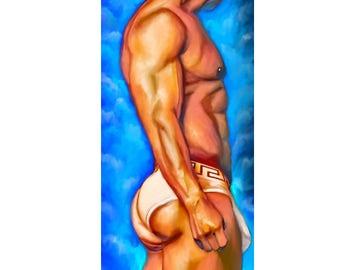 male profile, male underwear,gay art,homoerotic art, bubble butt