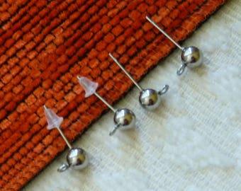 10x Ball Earring Studs, Stainless Steel Earring Studs, Ball Earring Studs with Loop, Ball Head Pins for Earring Making, Jewelry Findings