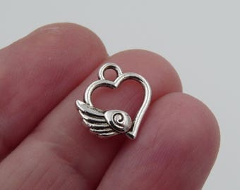 Heart Charms, Love Charms, Heart with Wing Charm, Charm for Bracelet, Necklace Pendants, Double Sided Heart Charms