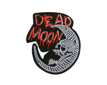 Skull Ghost Biker Embroidered Applique Iron on Patch 7.5 cm. x 8.5 cm.