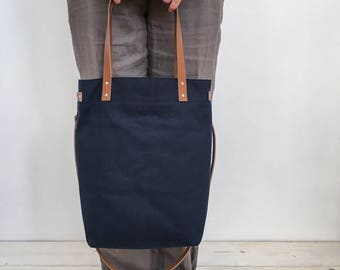 Tote shoulder cross body bag canvas dark blue leather straps